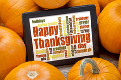 Happy Thanksgiving word cloud Stock Photos