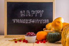 Happy Thanksgiving word cloud on a vintage slate blackboard. royalty free stock photo