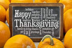Happy Thanksgiving word cloud. On a vintage slate blackboard surrounded by pumpkins