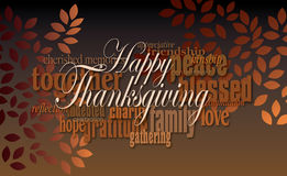 Happy Thanksgiving word montage with leaves. Graphic typographic montage illustration of the sentiment Happy Thanksgiving composed of associated terms, and Stock Photos