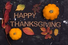 Happy Thanksgiving. Word with pumpkin and autumn leaves on black background royalty free stock photography