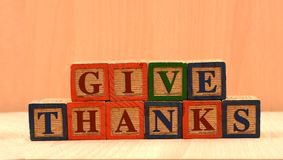 Happy Thanksgiving Words on Wooden Block decoration.  stock photos