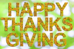 Happy Thanksgiving written with words made of leaves and green Royalty Free Stock Images