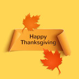 Happy thanksgiving, yellow curved banner Stock Images