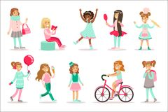 Happy And Their Expected Classic Behavior With Baking, Beauty Procedures Sweets Set Of Traditional Female Kid Role. Happy And Their Expected Classic Behavior royalty free illustration