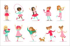 Happy And Their Expected Classic Behavior With Girly Games Pink Dresses Set Of Traditional Female Kid Role Illustrations. Happy And Their Expected Classic royalty free illustration