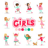 Happy And Their Expected Classic Behavior With Girly Games And Pink Dresses Set Of Traditional Female Kid Role Stock Photo