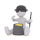 Happy thief with bag of gold. Incognito character wearing hat with sunglasses sitting next to bag of coins, 3D render isolated on white Stock Images