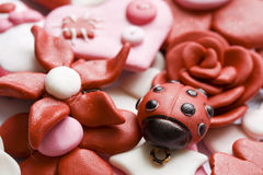 Happy things. Macro shot of various pink and happy decorations made from clay Royalty Free Stock Photos