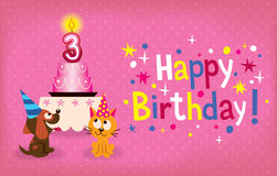 Happy Third Birthday. Cute Kitten And Puppy Happy Third Birthday Card Royalty Free Stock Photography