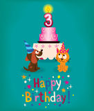 Happy Third Birthday. Cute card Royalty Free Stock Photography