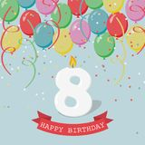 Happy third Birthday anniversary greeting card with number Eight. Balloons, ribbons and confetti Royalty Free Stock Image