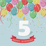 Happy third Birthday anniversary greeting card with number Five. Balloons, ribbons and confetti Royalty Free Stock Image