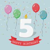 Happy third Birthday anniversary greeting card with number Five. Balloons, ribbons and confetti Stock Image