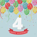 Happy third Birthday anniversary greeting card with number Four. Balloons, ribbons and confetti Stock Photography