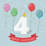Happy third Birthday anniversary greeting card with number Four. Balloons, ribbons and confetti Stock Photos