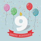 Happy third Birthday anniversary greeting card with number Nine. Balloons, ribbons and confetti Stock Images