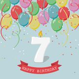 Happy third Birthday anniversary greeting card with number Seven. Balloons, ribbons and confetti Royalty Free Stock Photo