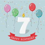 Happy third Birthday anniversary greeting card with number Seven. Balloons, ribbons and confetti Stock Images