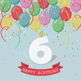 Happy third Birthday anniversary greeting card with number Six. Balloons, ribbons and confetti stock illustration