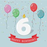 Happy third Birthday anniversary greeting card with number Six. Balloons, ribbons and confetti Royalty Free Stock Photo