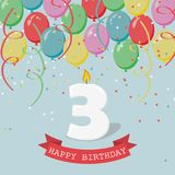 Happy third Birthday anniversary greeting card with number Three. Balloons, ribbons and confetti Stock Photography