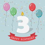 Happy third Birthday anniversary greeting card with number Three. Balloons, ribbons and confetti Vector Illustration