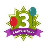 Happy third birthday badge vector icon. Birthday badge banner design flat. Celebration emblem anniversary card date paper sticker vector symbol. Invitation with Royalty Free Stock Photos
