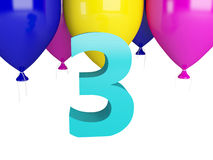 Happy Third Birthday. Blue number three. And color balloons isolated on white Stock Image