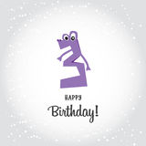 Happy Third Birthday postcard. Violet number tree and Happy Birt Stock Photos