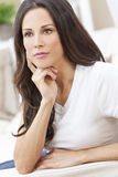 Happy Thoughtful Beautiful Woman Resting Stock Image