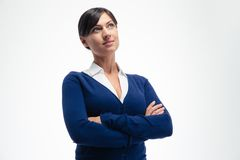 Happy thoughtful businesswoman Royalty Free Stock Image