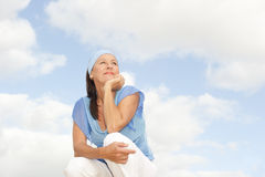 Happy thoughtful middle aged woman outdoor Royalty Free Stock Photos