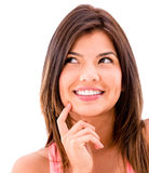 Happy thoughtful woman Stock Images