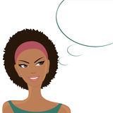 Happy Thoughts. Illustration of a beautiful smiling Afro-American girl with a blank thought/speech bubble on white background Stock Photography
