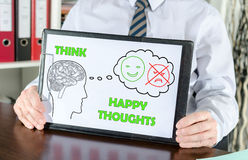Happy thoughts concept on a clipboard Stock Photo