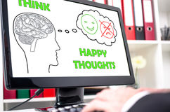 Happy thoughts concept on a computer screen Royalty Free Stock Image