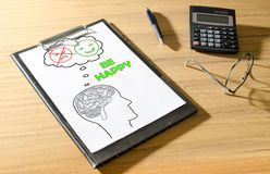 Happy thoughts concept on a desk Stock Photography