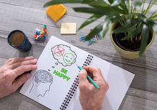Happy thoughts concept on a notepad Stock Photography