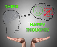Happy thoughts concept sustained by open hands Stock Image