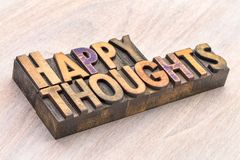 Happy thoughts word abstract in wood type Royalty Free Stock Images