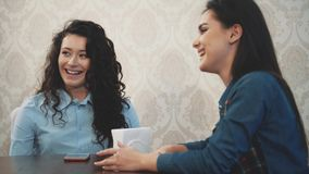 Happy three beautiful girls sitting in a cafe with their girlfriends. During this, tell and tell various stories. Enjoying time together while relaxing in the stock footage