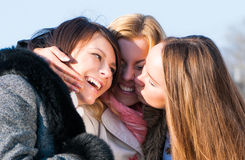 Happy three beautiful young women Stock Photography