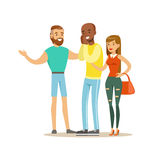 Happy Three Best Friends Having Good Time Together, Part Of Friendship Illustration Series Royalty Free Stock Photos
