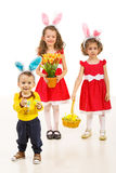 Happy three brothers with Easter eggs Royalty Free Stock Photography