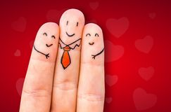 Happy three fingers. Happy fingers on red background Royalty Free Stock Photos