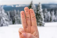 Happy three fingers. In winter Stock Image