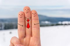 Happy three fingers. In winter Royalty Free Stock Photo