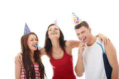 Happy three friends Stock Photo
