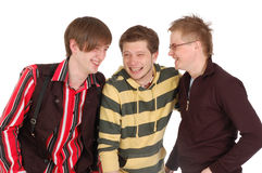 Happy three friends laugh Royalty Free Stock Photos